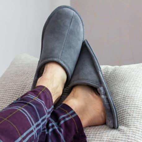 SnugToes Bolu Grey mens leather slippers