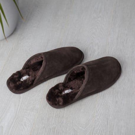 SnugToes Bolu Brown Nubuck Leather Slippers